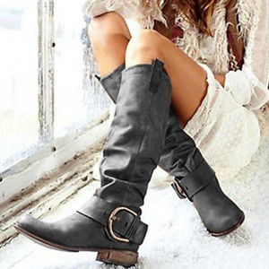 Women Boots Pu Leather Retro Casual Womans Booties Gladiator Low Heel Shoes Ladies Fashion Botas Mujer Invierno TW486