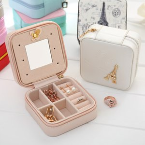 Creative travel Portable Jewelry Box Earrings earrings Jewelry Storage boxes leather Cute jewelry bag