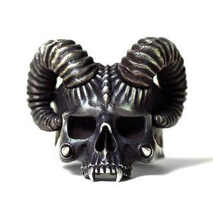 EYHIMD Unique Silver Color 316L Stainless Steel Ring Horned Devil Evil Skull Rings Mens Womens Punk Biker Jewelry