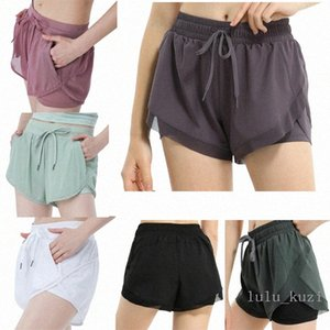 Lulu women loose yoga shorts pocket quick dry gym sports Leggings shorts pants Women 2020 new style dresses 2021 x1Bw#