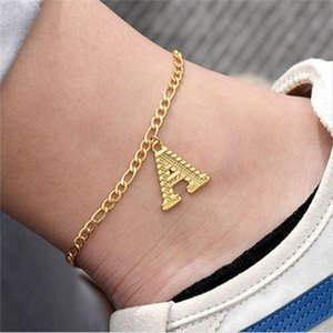 Hot Sales A-Z Letter Anklets For Women Girl Fashion Initial English Alphabet Ankle Bracelet Gold Stainless Steel Leg Bracelet Foot Jewelry