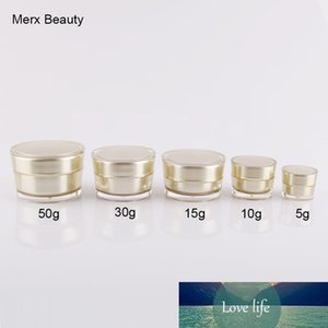 5G 10G 15G 30G 50G GOLD التجميل فارغة ACRYLIC المخروط SHAPE CREAM JAR زجاجة حاويات 10PCS / LOT، MERX BEAUTY BRAND