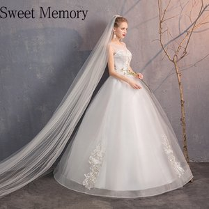 Sw0130 Sweet Memory Floor Length White Lace Up Wedding Dresses Women Spring Summer Autumn Performance Party Gown