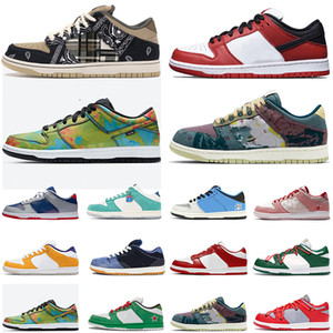 nike SB dunk low off white koşu ayakkabısı Ben & Jerry's Chunky Dunky Travis Scott Mens Womens Tasarımcı Dunks Safari Muslin Stussy Kiraz Eğitmenler Elmas Marka Sneakers
