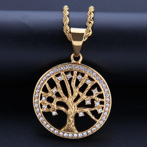 Hip-hop Tree of Life Stainless Steel Water Drill Pendant Fashion Rap Hip-hop Couple Necklace
