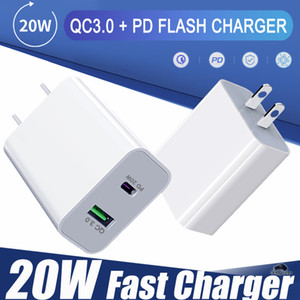 PD Type C 20W Charger With QC3.0 Adaptive Fast Charging USB Mobile Phone Charger Dual Port Wall Travel Charger For Mobile Phones