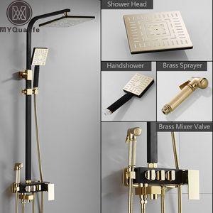 Rainfall Shower Faucet Golden Black Bathroom Shower Set With Bidet Sprayer Mixer Tap Wall Mount Shower Hot Cold Water Tap 1011