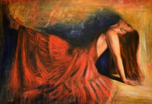"""""""Mistero"""" red dress Woman Pretty Girl Home Decor Handpainted &HD Print Oil Painting On Canvas Wall Art Canvas Pictures 210122"""