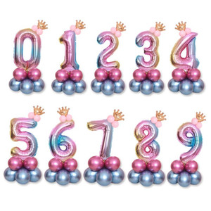 Birthday Balloons Rainbow Number Foil Ballons 1 2 3 4 5 6 7 8 9 Years Old Happy Birthday Party Decorations Kids Decor Air Ballon