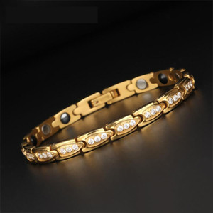 Gold Stainless Steel Magnetic Germanium Negative Ion Healing Crystal Zircon Bracelet For Women Rose Gold Health Care Bracelets