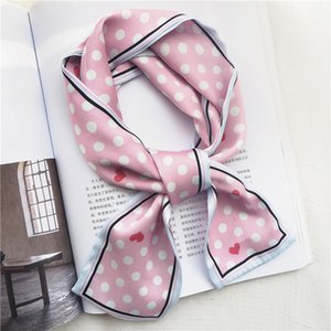 Luxury-2020 Small Dots Skinny long silk Scarf Head Neck Scarf Foulard Femme Bandana Elegant Women's Hair Tie Band Wrap Hand kerchief