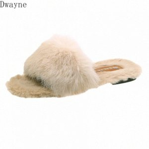 2020 Autumn And Winter With Furry Slippers Female New Korean Version Of The Wild Student Hair Wear Fashion Flip Flops Mid Calf Boots L qhhh#