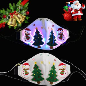 Christmas Face Mask Led Fiber Light Up Mask For Dust-proof Winter Protection Voice Control + colorful + flashing Xmas Tree Mask HH9-3388