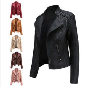 Yeni 2020 yüksek kaliteli ince sonbahar kadın deri ceket ince kesit küçük ceket bayanlar PU motosiklet takım elbise