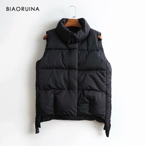 BIAORUINA Women's Korean Style All-match Sleeveless Keep Warm Vest Stand Collar Female Sweet Thick Winter Vest Covered Buttons 201119