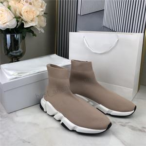 2021 Homens Mulheres Sapatos casuais Sock VELOCIDADE Ténis malha estiramento Sneakers velocidade Trainers Scarpe Nude Chaussures Preto Graffiti com caixa