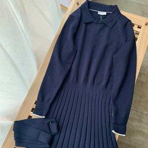 Мода женское платье простая 20aw повседневная ремень юбка высокий стилист цельные женские платья синий и коричневый xs-m