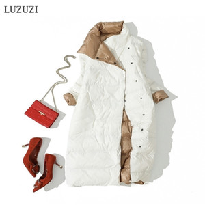 LUZUZI Women Double Sided Down Long Jacket Winter Turtleneck White Duck Down Coat Double Breasted Warm Parkas Snow Outwear 201023
