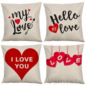 45*45CM Valentine's Day Pillow case Polyester White Pillow Cover Cushion Cover Decor Pillow Case Blank Car Decor Gift 100pcs T1I3494