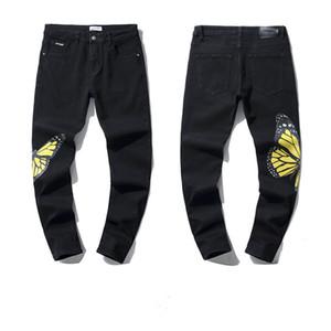 2021 Alta Qualidade Mens Designe Jeans Afligido Motocicleta Biker Jeans Rock Skinny Rasgado Furo Faixa Famoso Marca Denim Calças