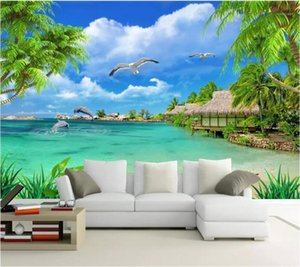 Mural Custom Wallpaper 3D Stéréo Photo Mural HD Coconut Arbre Paysage 0 Fond Mural Salon Chambre à coucher Wallpaper1