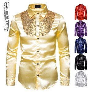 Vaguelette Men Shirt Luxury Sequin Tuxedo Silk Shirt Party Stage Performance Wedding Shirts Long sleeved Chemise Homme