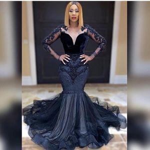 African Black Prom Dresses for Women Party Night Long Satin Evening Dress 2021 Graduation Gowns Robe De soirée De Mariage