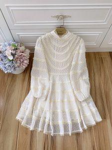 2020 autumn new French print lace Mosaic stand neck lantern, sleeve, high waist show thin temperament short dress