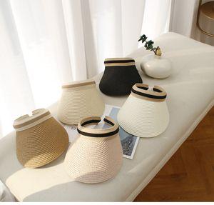 Fashion Visors sun hats wide Brim summer beach hats for men women Adjustable straw caps seaside holiday sunscreen ps0639