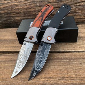 15080 Fold Knife S30V stone wash Blade Outdoor Hunting Hiking EDC Fish Patterns Knives