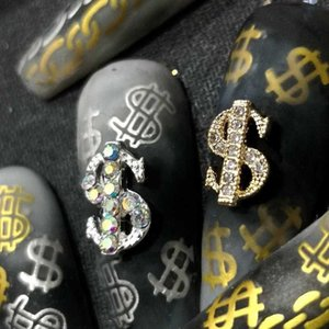 5 10pcs Coin Money Dollar 3D Alloy Art Decorations Rhinestones Gems Metal Nails Accessories DIY Nail Jewelry Charms