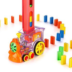 80pcs Electric Dominoes Train Set Car Vehicle Automatic Put up Rainbow Domino Toys For Children Kids Blocks DIY Game Educational Toy Gift
