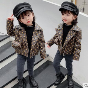 Girl Casual Winter Lovely Style Down Coat PU Kids Warm Printed Down Children Outerwear Solid Color Girl Clothings