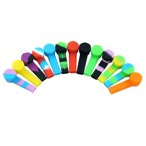 Mini hand pipe tobacco smoking pipe Silicone pipe Spoon Pipes oil pipes Dry herb portable hookah 50pcs lot