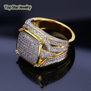 Vintage Copper Ring Shiny Micro Cubic Zirconia Real Gold Plated Rings Punk Finger Accessories For Men Hip Hop Rapper Jewelry Gift Size 7-11