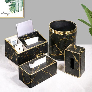 Leather Marble Tissue Box Desktop Paper Towel Holder Napkin Storage Container Home Office Decoration