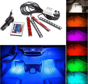 20 set 12V Flessibile auto styling RGB LED Strip Light Atmosphere Decoration Lamp Auto Interni Lampada al neon con accendino per sigarette controller