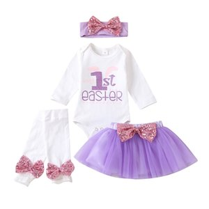 New INS Newborn Kids Girls Skirts Suits Easter Days Toddler Rompers Set Kids Designer Clothes Girls Infant Hairbows Casual Skirts Outfits