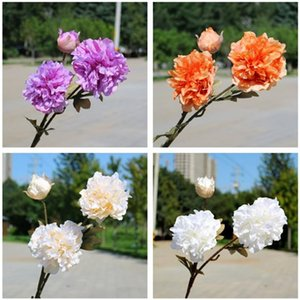 "Fake Single Stem Peony (3 heads piece) 30.71""Legth Simulation Autumn Peonia for Wedding Home Decorative Artificial Flowers"