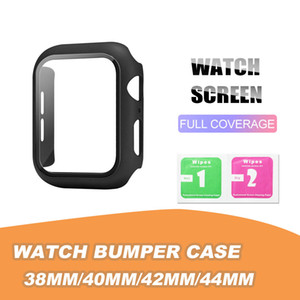 Matte Hard Watch Case con protector de pantalla para Apple Iwatch Series 5/4/3/2/1 Funda de cobertura completa 38 40 42 44mm