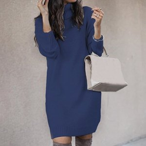 Muyogrt Chic Women Solid Color Turtleneck Long Sleeve Casual Loose Knitted Sweater Dress Casual Warm Autumn Women's Sweater 201016