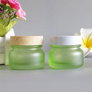 50G Frosted Bamboo Lid Cream Jar Eye Lip Balm Sunscreen Feet Black Mask Travel Refillable Glass Bottle Packaging 6pcs lot