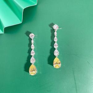 Wong Rain Luxury 100% 925 Sterling Silver Created Moissanite Citrine Gemstone Drop Dangle Women Earrings Fine Jewelry Wholesale