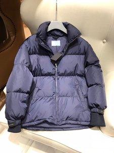 Luxury Design 2021 Winter Women Collection Street Style Navy Blue Wide Waist Hidden Hood Down Jacket Traingle Jackets Magic Tie Coat