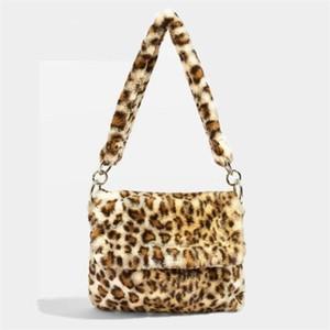 Fur Bag animal print leopard women ladies winter warm crossbody bags famous Brand Large Capacity shoudler Clutch 2019 new Q1104