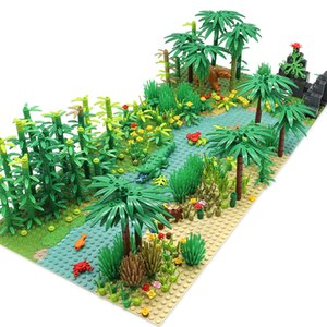 Rainforest Animal Fish Grass Tree Building Blocks Set with Baseplate City MOC Accessories Parts Bricks DIY Kids Toys Gifts C0119