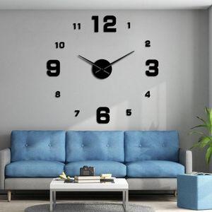 Número grande Frameless Diy Relógio de parede Mute Espelho Stickers Modern gigante relógio de parede não Ticking para sala de estar Quarto Cozinha bbyxzQ
