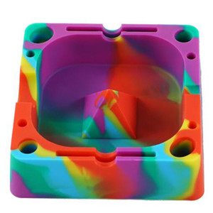 120*120*36mm Popular Colorful Ashtrays Silicone Square Household Ash Holders Colorful Beautiful New Arrival Ash Tray VT1973