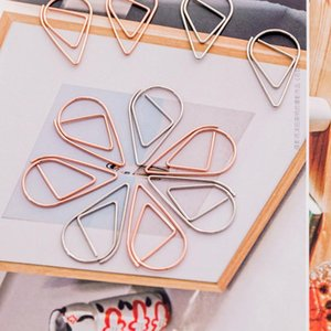 1set=10pieces Plastic Drop Shape Paper Clips Gold Silver Color Funny Kawaii Bookmark Office Shool Stationery Marking Clips OWF2828
