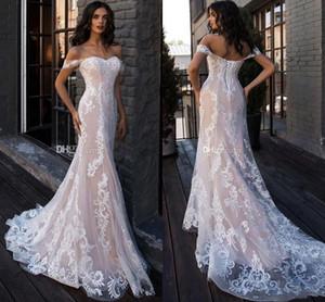 2021 blush pink plus size mermaid wedding dresses bridal gowns with lace appliques Beach Bohemain Wedding Dresses vestidos de novia